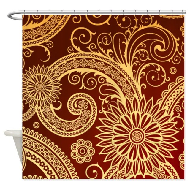 Red And Gold Fl Swirls Shower Curtain Decorative Fabric Bath Products Bathroom Decor With