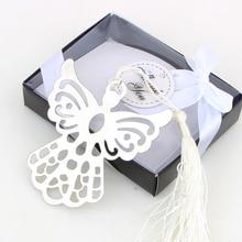 シルバー天使のブックマーク洗礼ベビーシャワーのお土産パーティー洗礼プレゼントギフト結婚式のゲストへのプレゼント 50 個のギフトボックス