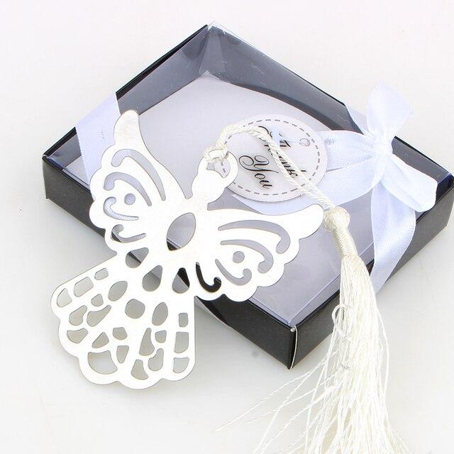 Marcador de anjo de prata para batismo, chá de bebê, lembranças, festa, batismo, presente de casamento, convidado, 50 peças, caixa de presente