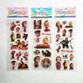 Random 3 sheets cute masha and bear 3D stickers diary PVC puffy reward kids lot kawaii educational bubble stickers for notebook