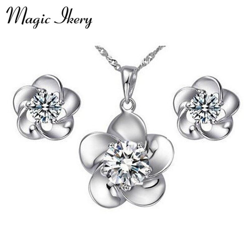 f1cfbfad9543 Magic ikery nueva llegada al por mayor moda joyería oro color cristal  Juegos de joyería con collar pendiente para las mujeres mkz1172