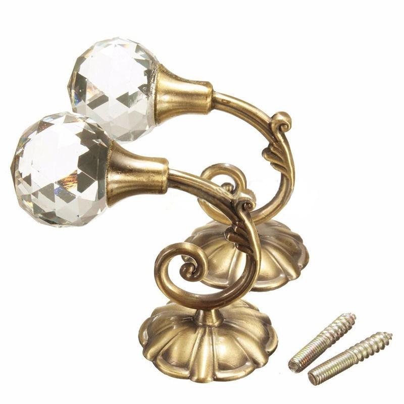 2 BRASS Large Ball End Tassel hooks//One Pair Metal Hooks Curtain Tieback Hooks