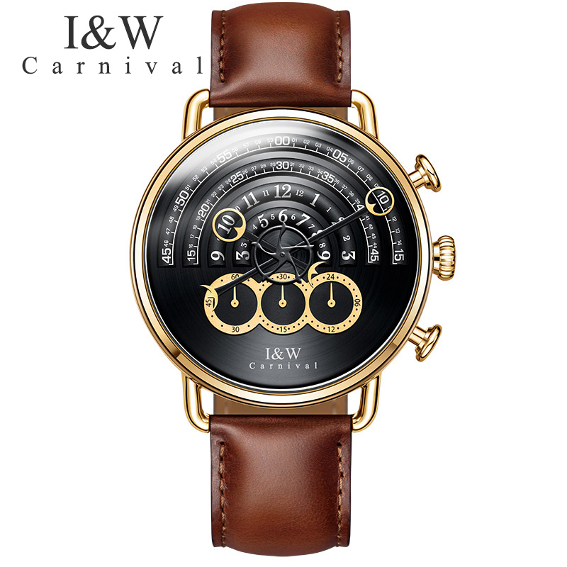 CARNIVAL Quartz Watch relogio masculino Mens Watches Top Brand Luxury Chronograph Clock Men Sport Waterproof Leather Wristwatch reef tiger brand men s luxury swiss sport watches silicone quartz super grand chronograph super bright watch relogio masculino