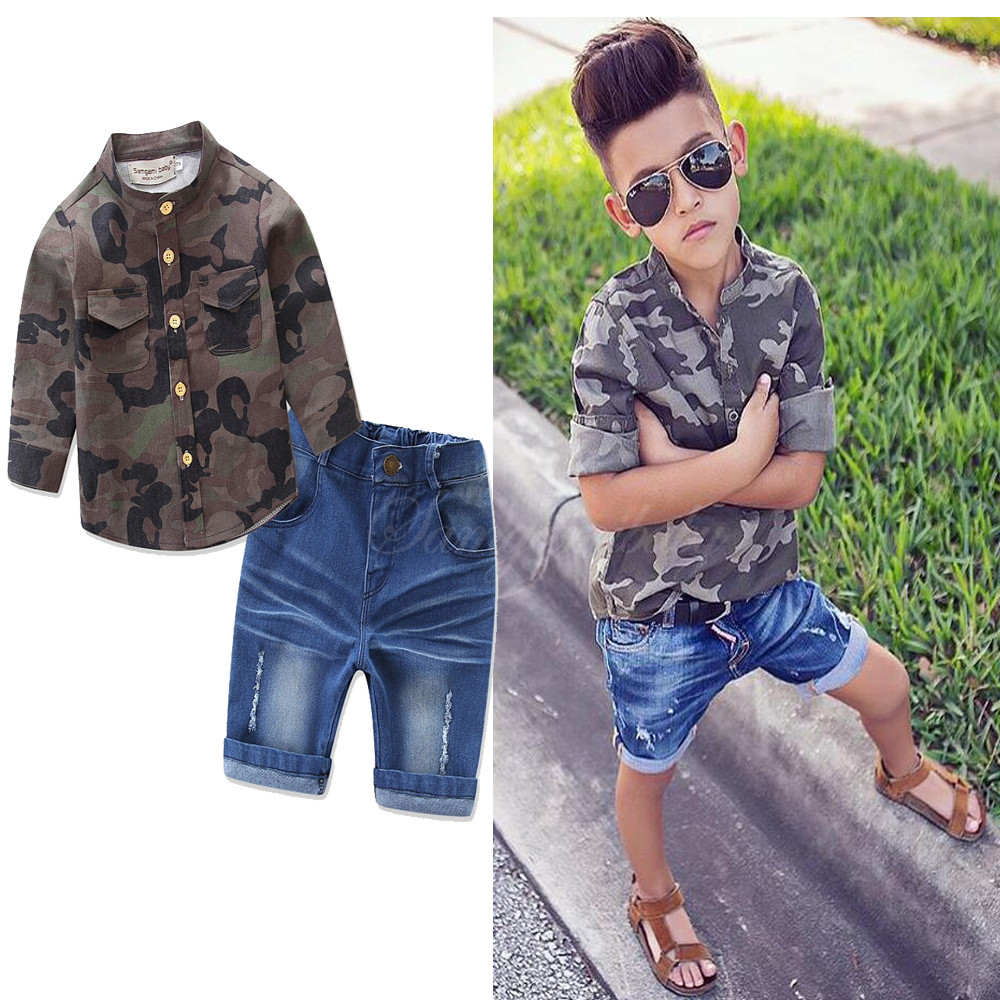 Kids boys Summer clothes Style Infant Clothes Boy dress Sets Camouflage Denim Shirt +Short Pants 2pcs Clothing Set For 2-7Y