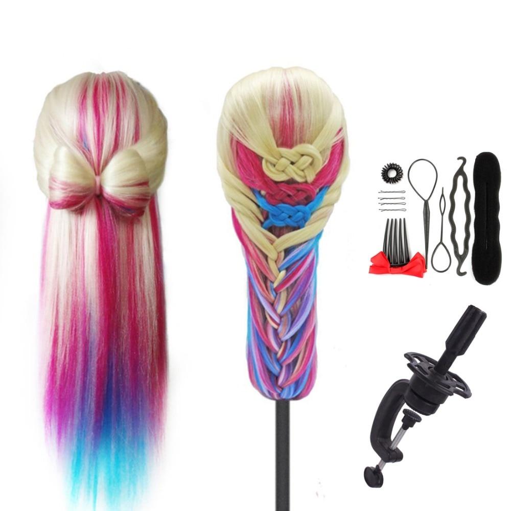 "SHERUI 28"" White Rainbow Hair Shoulder Mannequin Head Hairstyles Training School Hairdresser Female Practice Head Model For Sale"