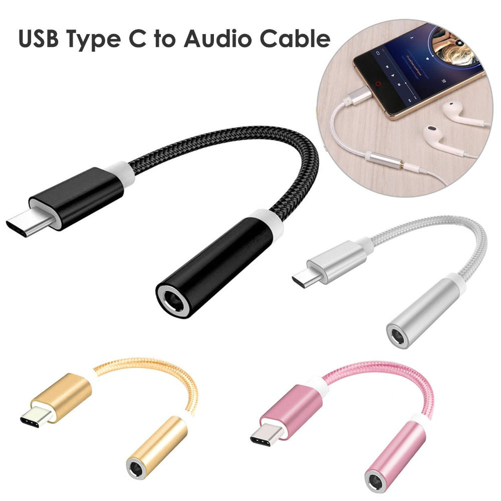 Tonbux Aux Adapter Cable Nylon Material USB C Type C To 3.5mm Audio Cable Music Adapter Aux Headphone Jack For Google Huawei-in Type-C Adapter from Consumer Electronics