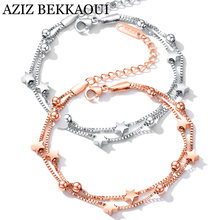 AZIZ BEKKAOUI Simple Style Rose Gold Chain Link Bracelets for Women Ladies Charms Star Woman Bracelets & Bangles Femme Gift(China)