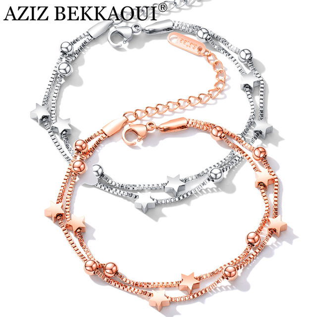 AZIZ BEKKAOUI Simple Style Rose Gold Chain Link Bracelets for Women Ladies Charms Star Woman Bracelets & Bangles Femme Gift