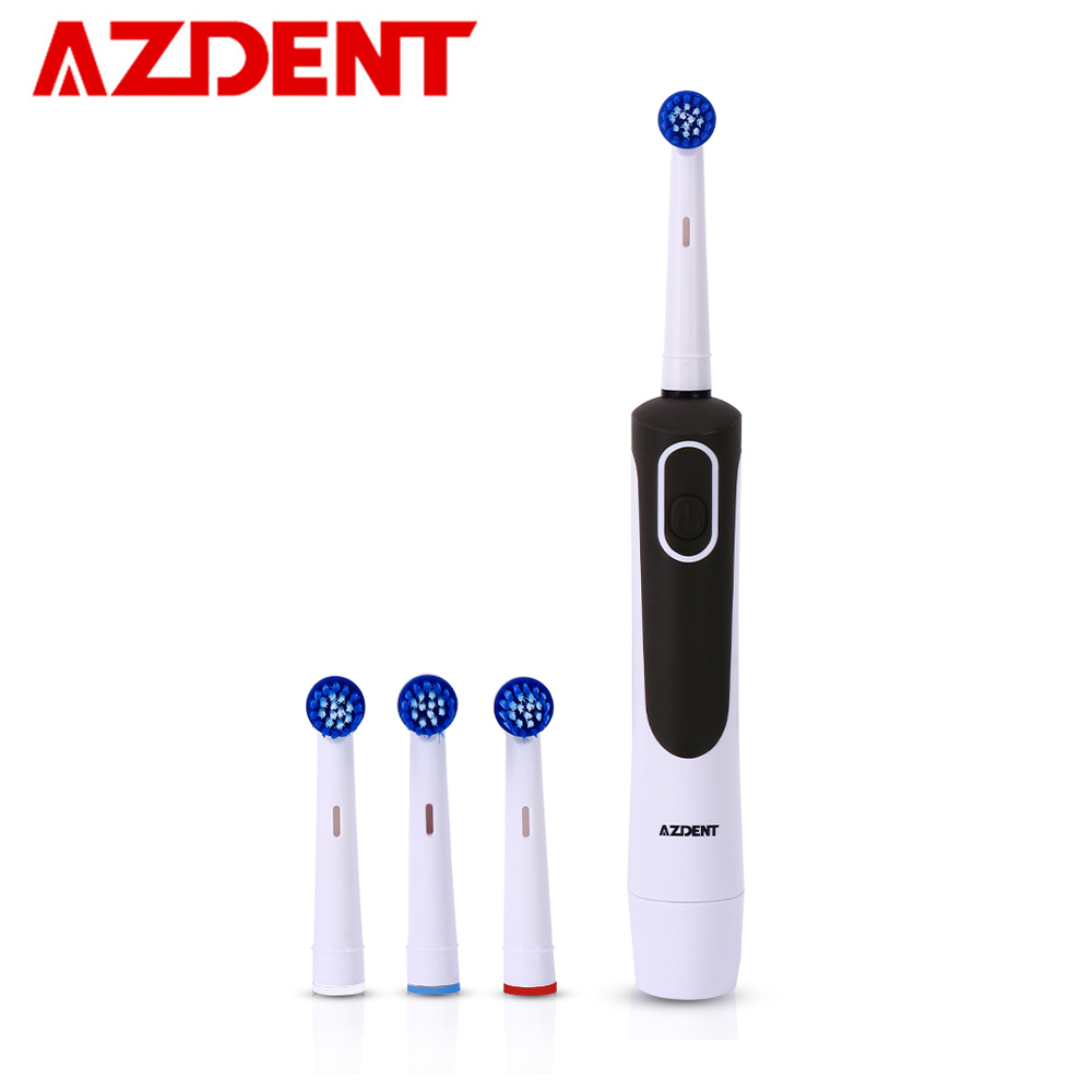 AZDENT Fashion Electric Toothbrush Rotary Tooth Brush AA Battery Power Deep Clean No Rechargeable with 4 Replacement Teeth Heads
