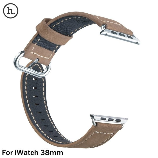 2017 New Arrival HOCO Luxury Genuine Leather 38mm IWatch Band Strap Stainless Steel Buckle Adapter Belt for Apple Watch