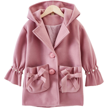 Spring Autumn Girls Jackets Coat Fashion Hooded Wool Coats For Kids Clothes Winter Girls Outerwear Jacket 4 6 8 10 12 13 Years
