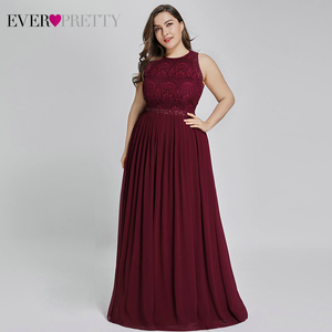 Image 1 - Long Burgundy Prom Dresses 2019 Ever Pretty Elegant Beading A Line Pleated Chiffon Lace Formal Party Gowns Vestidos De Fiesta