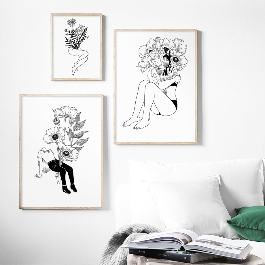 Wall Art Canvas Painting Flower Girl Black White Nordic Posters And Prints Abstract Painting Wall Pictures For Living Room Decor in Painting Calligraphy from Home Garden