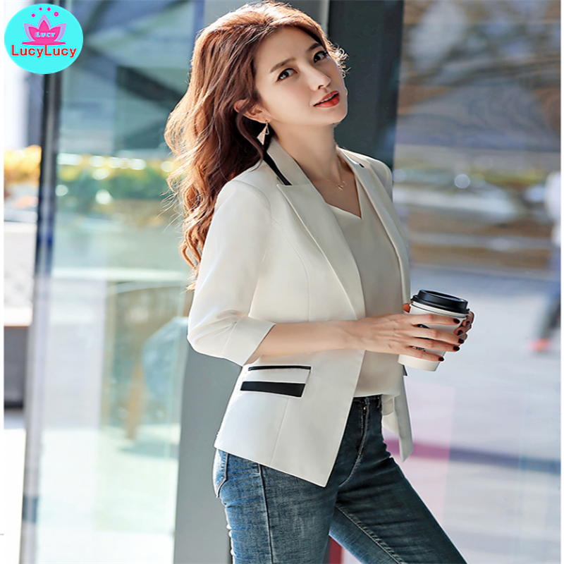 2019 Small Suit Jacket Korean Style New Spring And Summer Slim Net Red Seven-Point Sleeve Casual Suit Short Paragraph