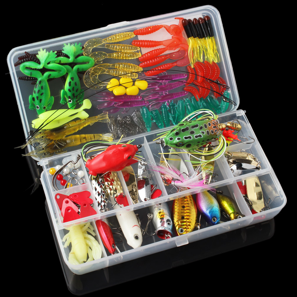 131pcs Fishing Lures Kit Mixed Hard Soft Baits Minnow Crank Popper VIB Sequins Wobbler Frog Lure with Box fishing lures 2017 43x set mixed models 43 clolor mix minnow lure crank bait tackle s baits pesca fishing accessories