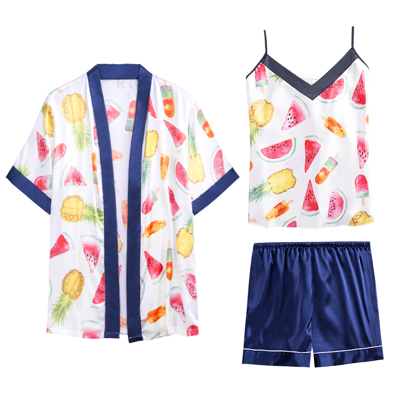 Summer Funny Fruit Printed Satin Robe +Spaghetti Strap Cami Top +Shorts 3 Pieces Pajamas Set Loungwear(China)