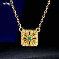 MoBuy Naturel Gemstone Élégante Vert Émeraude Collier Pour Femmes 925 Sterling Argent 14 K Jaune Plaqué Or Beaux Bijoux MBNI018