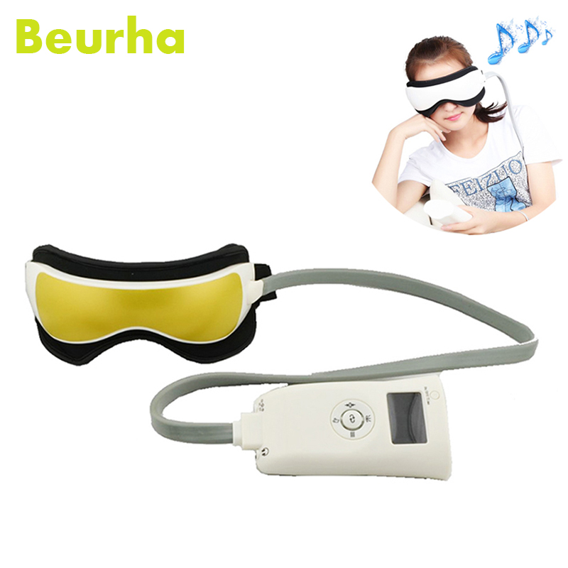 Beurha Air Pressure Eye Massager Glasses Music Wireless Eye Instrument Rubing Vibration Infrared Heater Eye Protection Device