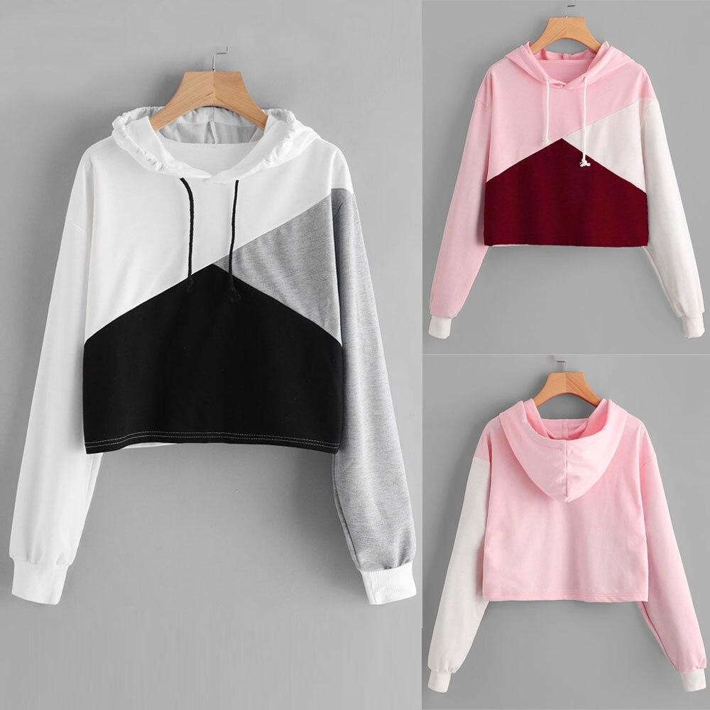 sudaderas mujer 2018 Women Long Sleeve patchwork Hoodie Sweatshirt Jumper Hooded Pullover Tops felpe donna sweat femme moletom
