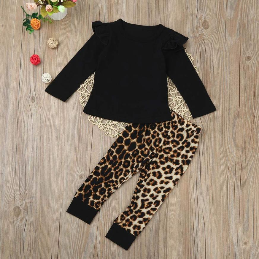 Long-Sleeve Leopard Newborn Baby-Girl Fashion Pants Outfits Tops Cute Infant Cotton July