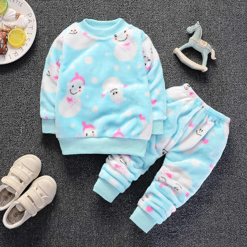 Baby girls autumn winter warm clothing sets newborn baby flannel 2pcs casual suits sleepwear for bebe girls toddler sports sets