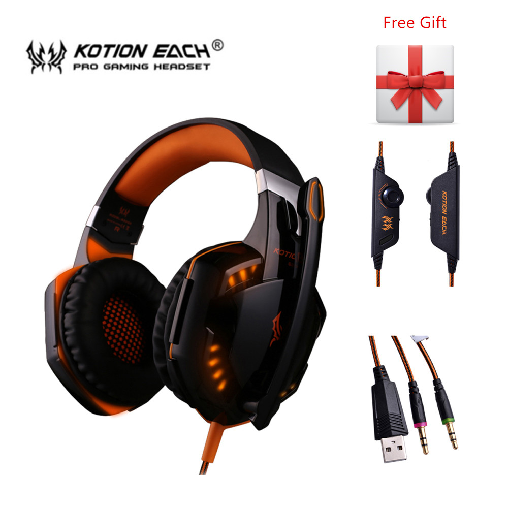 Kotion Each G2000 G4000 Big Gaming Headphones Gamer Headset with Mic Led Light for Computer Games PC Stereo Earphone kotion each g4000 gaming headset gamer pc gamer stereo headphones with microphone led light headphone for computer laptop