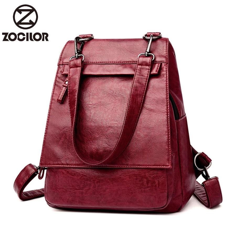 2019 Women Backpacks Women's Sorf Pu Leather Backpacks Female School Backpack Women Shoulder Bags For Teenage Girls Travel Back