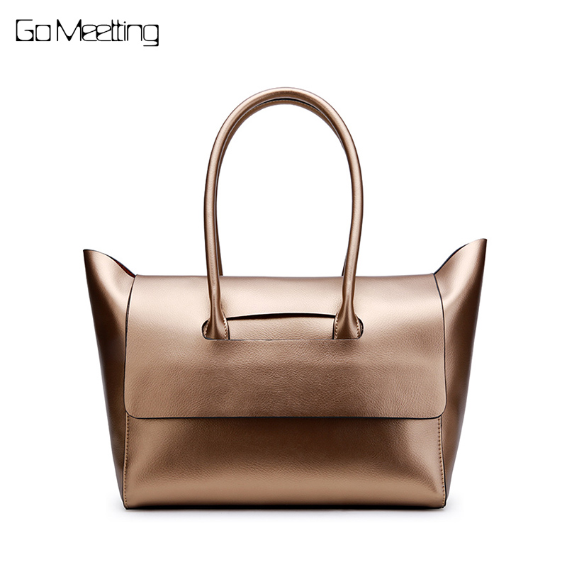 Go Meetting Brand Genuine Leather Women tote Bag Shoulder Bags large Solid Big Handbag Large Capacity Top-handle Bags sac a main laptop 11 6 touch led screen assembly for dell inspiron 11 3000 3147 lcd lp116wh6 spa2