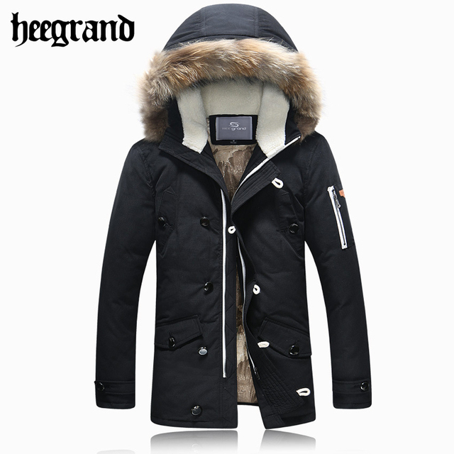 HEE GRAND Winter New Man Long Parka Coats Male Warm Hooded Overcoat Male Fashion Thick Solid Jackets MWY234