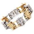Золото и серебро Властная мужская ювелирные изделия titanium браслет волчья голова браслет из нержавеющей стали браслет-цепочка