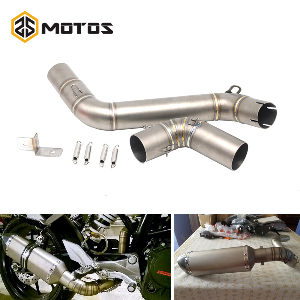 ZS MOTOS Motorcycle Exhaust Middle Pipe For KTM Duke 200 Duke 390 Stainless Steel Motorbike Exhaust Escape System motorcycle exhaust link pipe for ktm duke 125 duke 200 duke 390 carbon color motorbike exhaust muffler escape full system laser