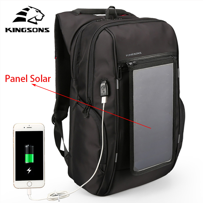 Kingsons3140 Mochilas Con Panel Solar Backpack USB Convenience Charging 17 Laptop Backpack Men Large Capacity Notebook Backpack mesh panel iridescence backpack