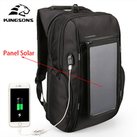 Kingsons3140 Mochilas Con Panel Solar Backpack USB Convenience Charging 17 Laptop Backpack Men Large Capacity Notebook Backpack