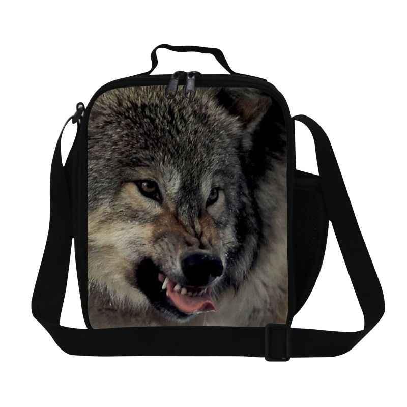 Dispalang высокое качество термо ланч бокс с держателем бутылки воды голова волка животного Детская сумка через плечо контейнер для ланча еды мешок