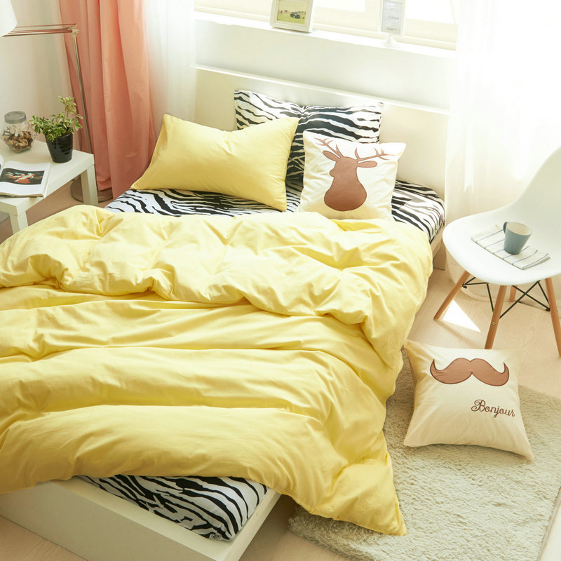 100% Cotton Print Simple Style Zebra Bedding Set 4Pcs Home Four Seasons  Fashion Duvet Cover Bed Set Twin Queen King D 93 In Bedding Sets From Home  U0026 Garden ...