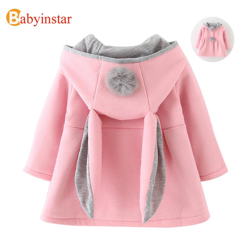 Cute Rabbit Ear Hooded Baby Girls Coat New Autumn Tops Kids Warm Jacket