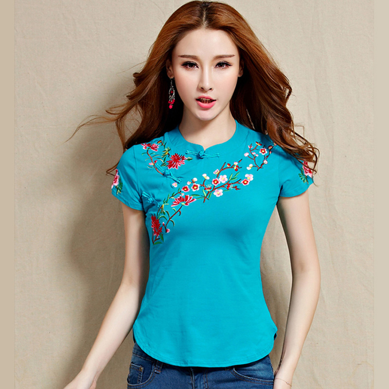 ><font><b>new</b></font> fashion women short sleeve o-neck Embroidery <font><b>Chinese</b></font> <font><b>Style</b></font> Button summer 100% cotton t-shirt female girls lady shirts tops