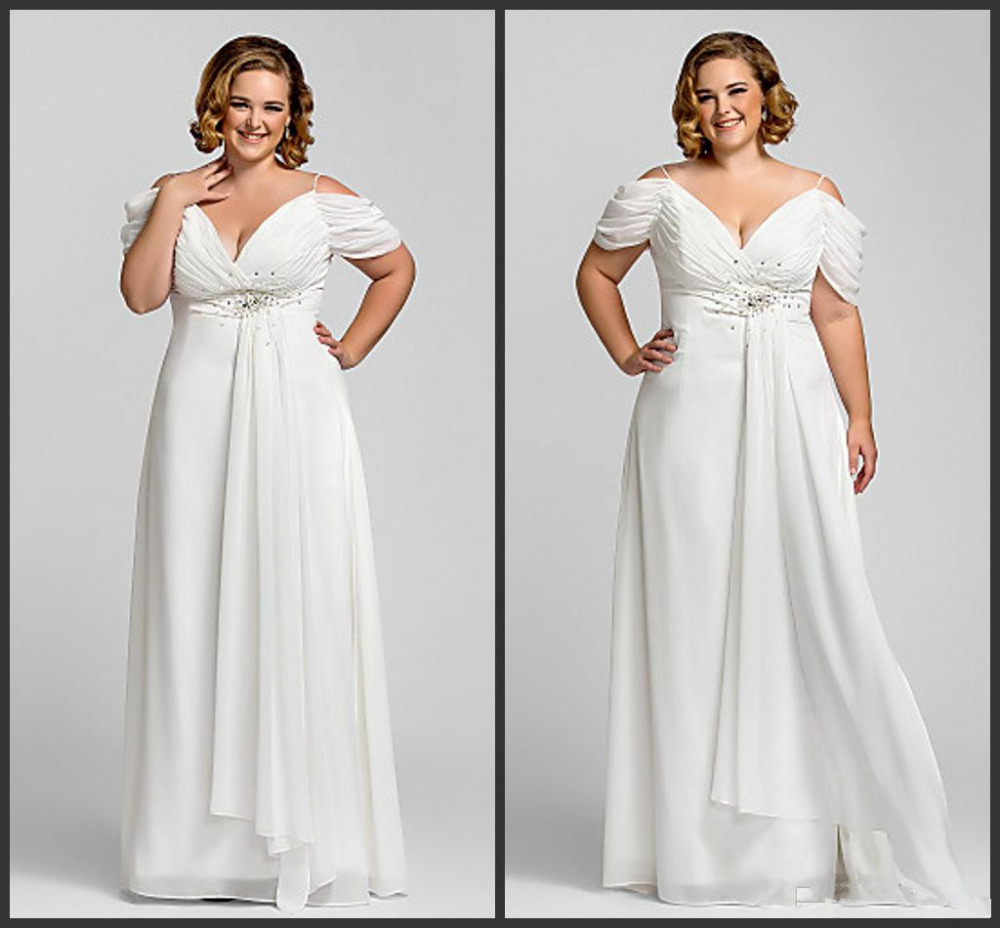 New Elegant Off Shoulder Empire Beads Chiffon Plus Size