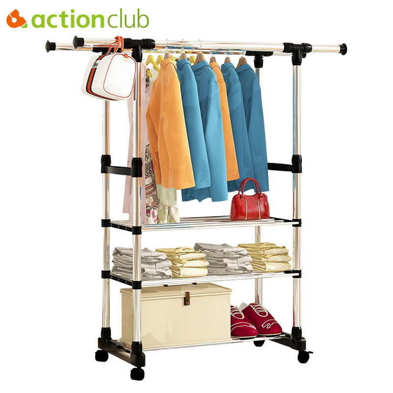 Double Folding Metal Coat Rack Clothes Rail Hanging Garment Dress Coat Storage Shelf With Wheels Simple Shoe Rack Home Furniture chrome metal wardrobe 2 layers rolling wheels storage rack 36x18x72 hot sale