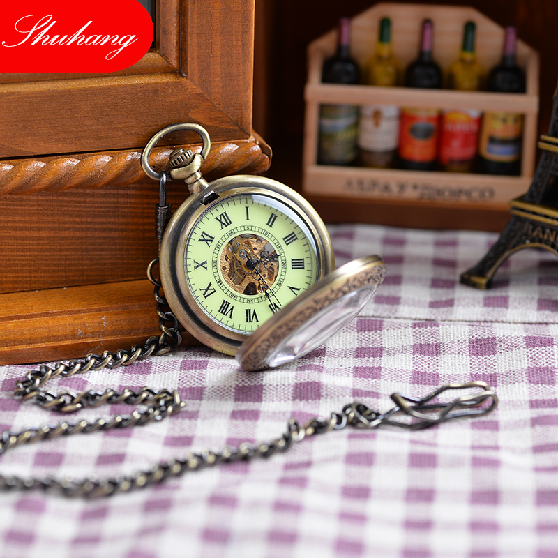 engraved pocket watches promotion shop for promotional engraved vintage bronze engraved case men mechanical pocket watch watches chain hand winding necklace watch men