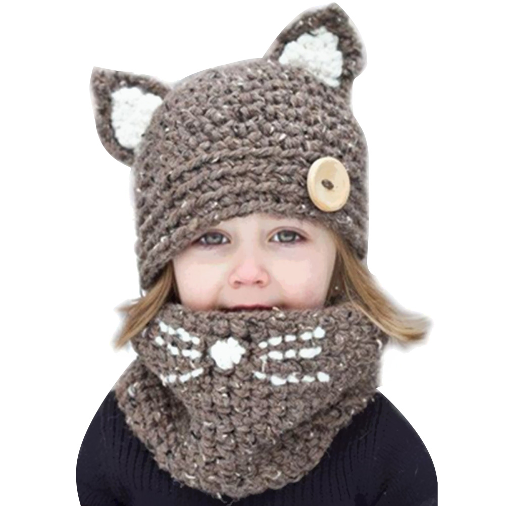 MUSEYA Kids Warm Winter Hat Scarves Set Fox Cat Earflap Hats And Knitted Coif Hood Scarf