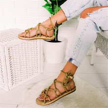 MoneRffi Lace Up Casuals Hemp Rope Women Shoes Zapatos De Mujer Sandals Boho Sandals Woman Cross Tied Sandals(China)