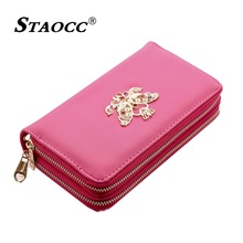 Luxury Diamonds Bow Double Zipper Big Wallet Women Leather Clutch Purse Phone Wallet Long Coin Purse Card Holder Female Wallets цена в Москве и Питере