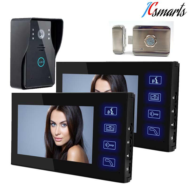 JCSMARTS Wired Touch Key 7 Video Door Phone Intercom System IR Infrared Doorbell Camera 2 Monitors Unlock Mute Intelligent Lock ключницы narvin 9276 n polo black