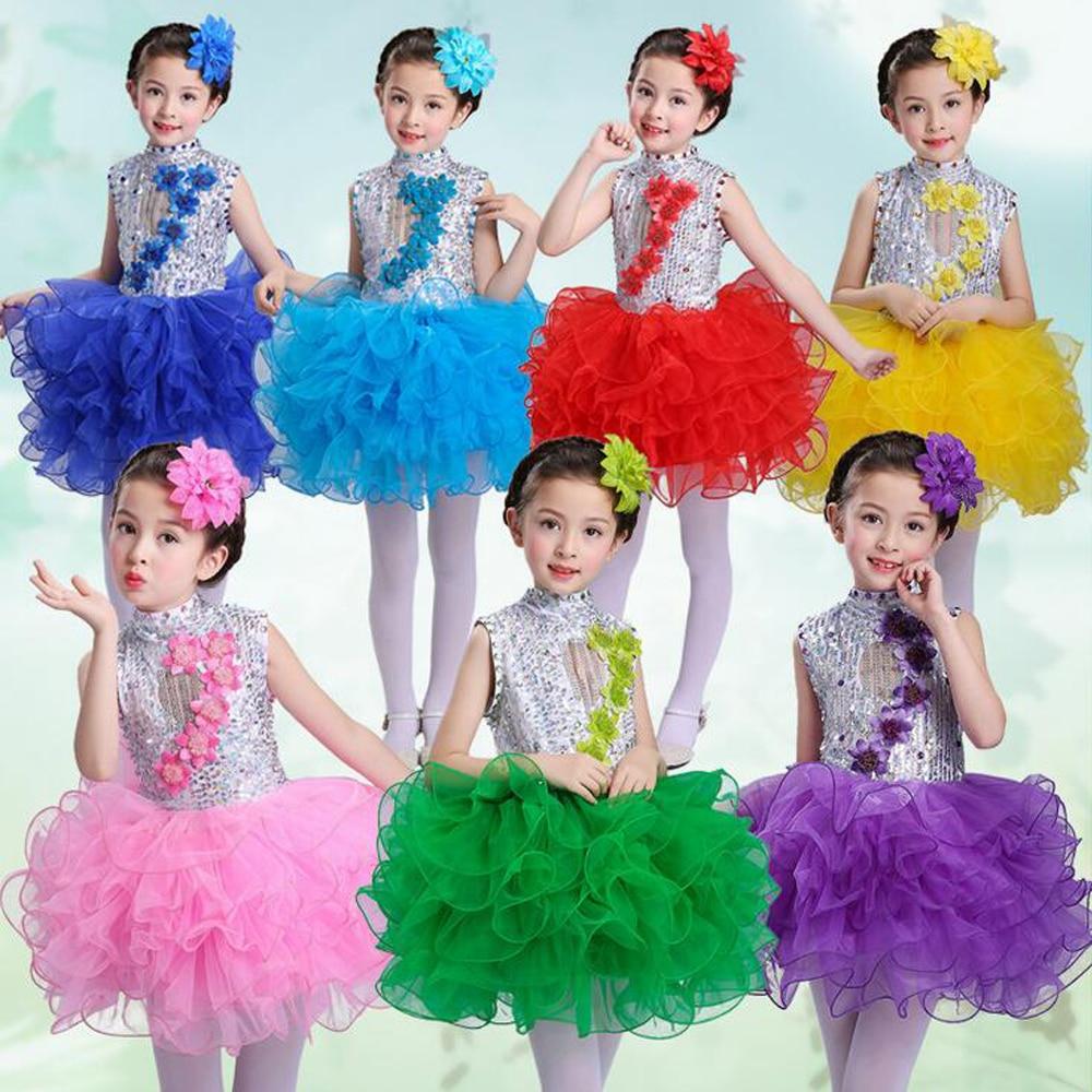 Girls Princess Fancy Dancing dress kids Ballroom Jazz Hip Hop Dresses Ball Party Wear Girl Sequined Halloween Christmas Outfits