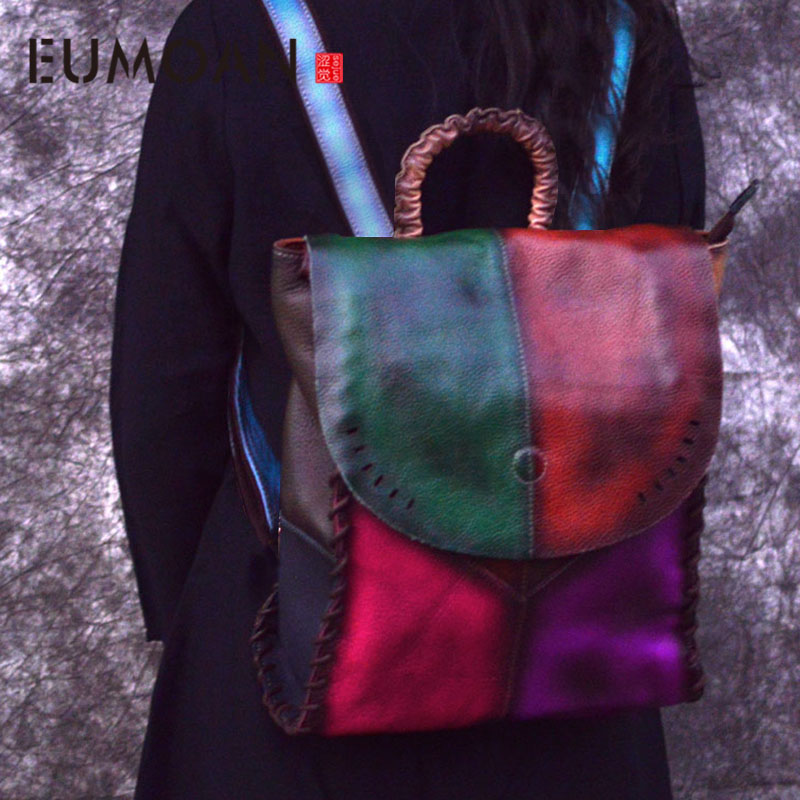 EUMOAN Genuine Leather Handmade Vintage Women Backpack Female Bags 2019 High Quality Cow Leather Backpack patchwork