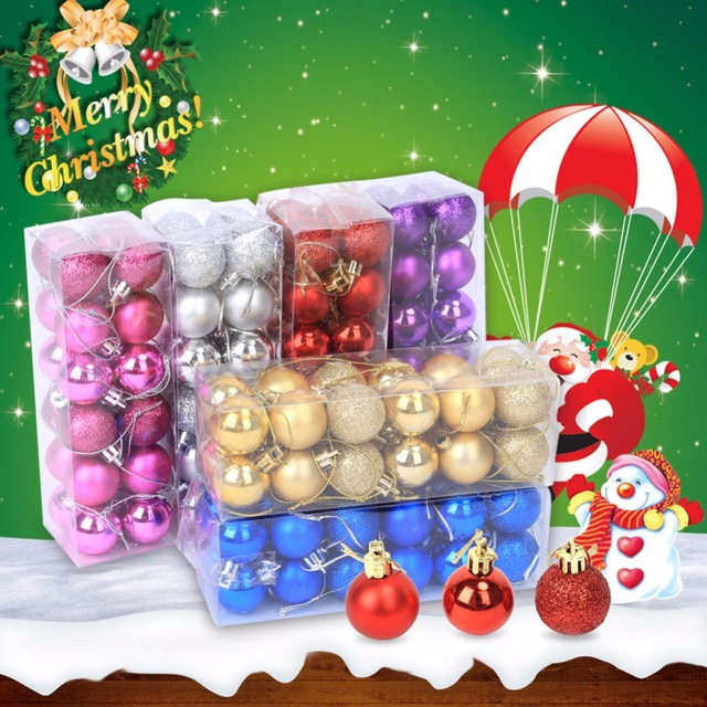Us 2 01 43 Off 24pcs 6 Colors Christmas Tree Hanging Glitter Ornament Balls Baubles Party Wedding Decorations Beautiful Christmas Supplies 2017 In