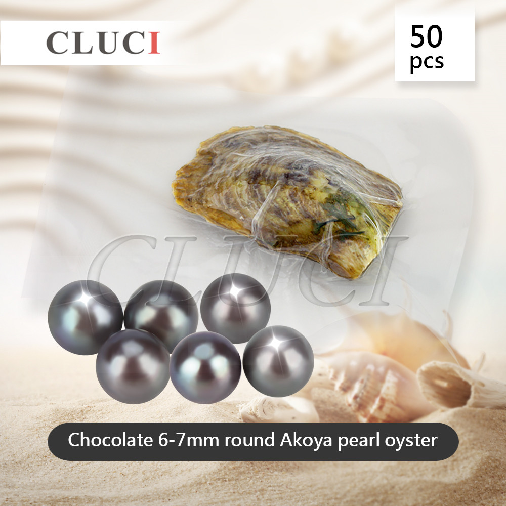 CLUCI 50pcs 6-7mm Chocolate Color Pearl Oysters akoya colorful pearls Wholesale Colorful Round Beads For Jewelry Making цена и фото