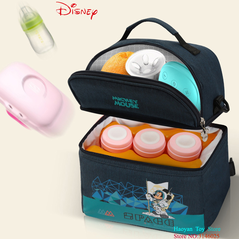 Disney Thermal Keep Drinks Cool Backpack Insulation Bag Milk Food Storage Bag Warmer Box Baby Feeding Bottle Fashion and Durable