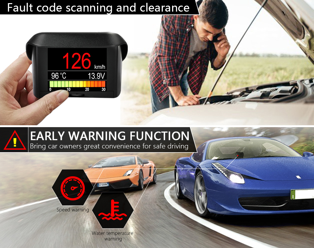 US $32 94 |ANCEL A202 OBD Car On Board Computer Multi Function Digital  Display Speedometer Coolant Temperature Gauge OBD2 Fault Code Reader-in  Code
